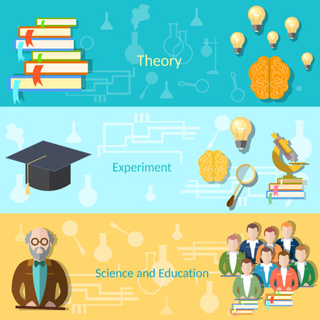 power of the mind: Science and education college students university examination power mind professor, study lessons, learning vector banners