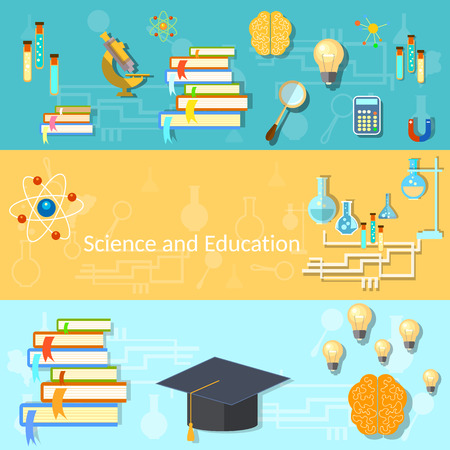 cognitive: Science and education, training, brain, manuals, chemistry, college, university, experiments, thinking, vector banners