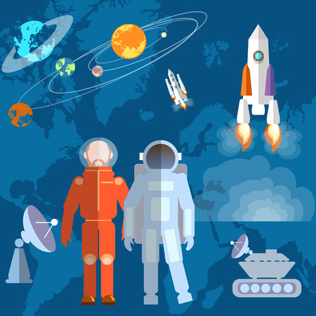 moon rover: Astronauts in space: cosmonaut, orbits, planets, rockets, spacecraft, study, space shuttle, vector illustration