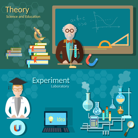 Science and education: teachers, school board, university professor, chemistry, physics, study, laboratory, experiments, vector banners