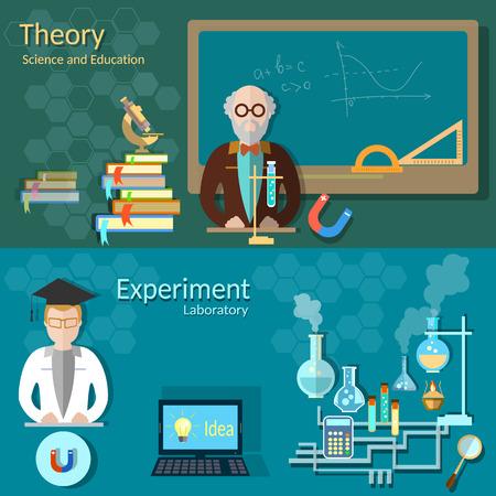 Wissenschaft und Bildung: Lehrer, Schulleitung, Universitätsprofessor, Chemie, Physik, Studium, Labor, Experimente, Vektor-Banner Illustration
