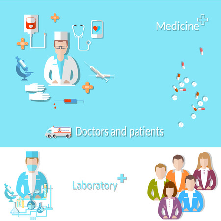 assays: Medicine: doctor, patient, medical education, research, pill, microscope, vector illustration