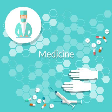 медик: Медицина и здоровье: врач, таблетки, врач, больница, перчатки, векторные иллюстрации Иллюстрация