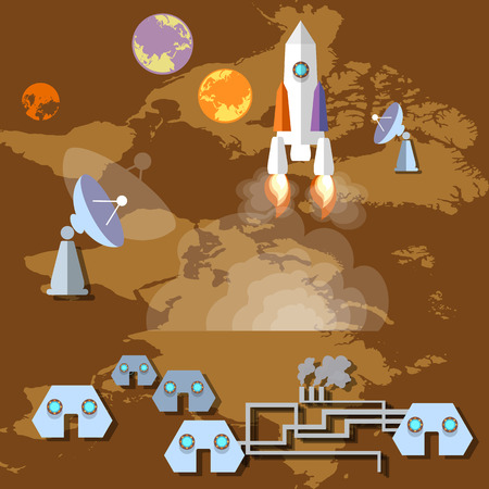 spaceport: Colonization of Mars: rocket, spaceship, spaceport, planets, orbit,future, study, universe, vector illustration