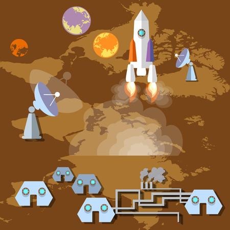 colonisation: Colonizzazione di Marte: razzo, astronave, spazioporto, pianeti, orbita, futuro, lo studio, l'universo, illustrazione vettoriale