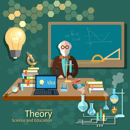 education: Des sciences et de l'éducation, enseignant en classe, professeur, université, un collège, l'algèbre, la chimie, la physique, la théorie, lecture, illustration vectorielle