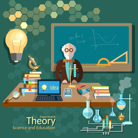 Science and education, teacher classroom, professor, university, college, algebra, chemistry, physics, theory, lecture, vector illustration