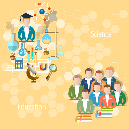 chemistry lesson: Study and education concept: pupils, teachers, school, university, college, lecture, lesson, teaching, exams, science, chemistry, physics, vector illustration Illustration