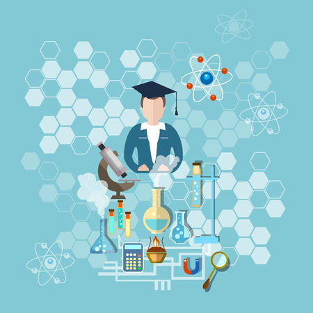 Science and education: a scientist, teacher research microscope, test tubes, chemistry, physics, medicine, experiment, school, study, vector illustration