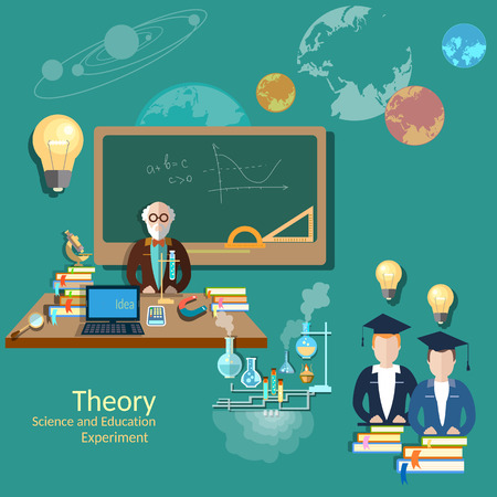 experience: Education concept: students and teachers, science and education, knowledge, professor, university, chemistry, physics, algebra, experiments, vector illustration