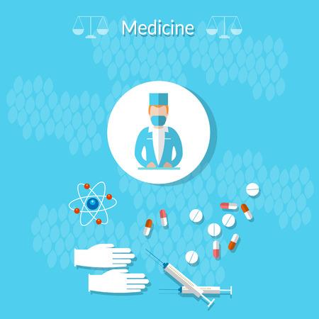 internist: Medicine: doctor, medicine, health, gloves, syringes, tablets, treatment, vector illustration Illustration