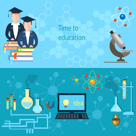 chemistry class: Education and training: students, college, teacher, school, microscope, university, chemistry, computer, experiments, physics, study, flat vector banners