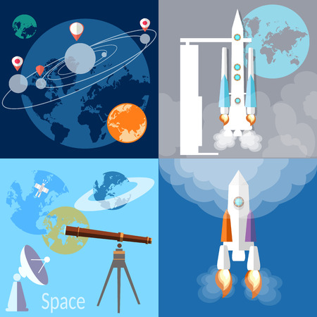 spaceport: Space concept:  spaceship, rocket, planet, orbit, solar system, space exploration, flat vector illustration