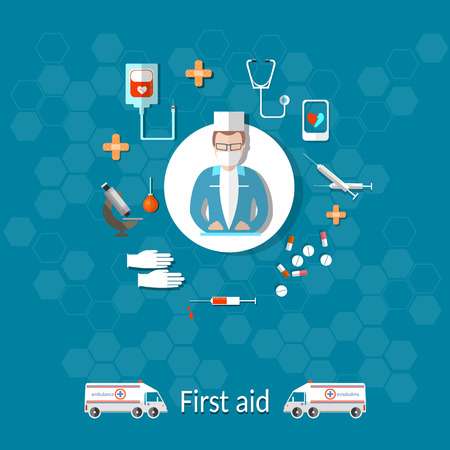 assays: Medicine, ambulance, doctor, first aid kit, medicines, syringes, health, tablet, vector illustration