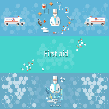 assays: Medicine: ambulance, pharmacology, pharmacist, doctor, syringes, pills, medical research, cross, syringe, microscope, vector banners Illustration