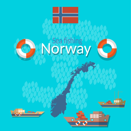 sea tanker ship: Norway: flag, map, fishing, tourism, travel, shipping, salmon, flat vector Illustration