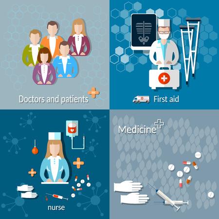ambulancia: Medicina: los m�dicos y los pacientes, de primeros auxilios, radiograf�as, muletas, enfermera, ambulancia, el tratamiento, el hospital, ilustraci�n vectorial