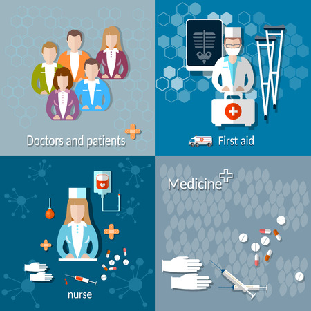 ambulance: Medicine: doctors and patients,first aid, x-rays, crutches, nurse, ambulance, treatment, hospital, vector illustration