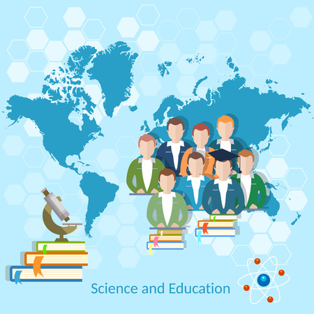 Science and education: students, pupils, school, university, online education, international education, college, school, vector illustration
