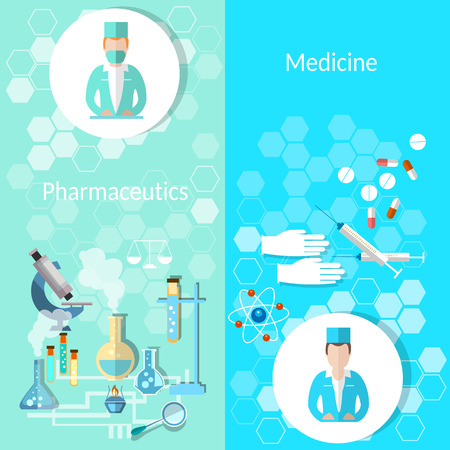 Pharmaceutical and medicine: doctor, new drugs, pills, medication, syringes, laboratory, investigation, vector illustration