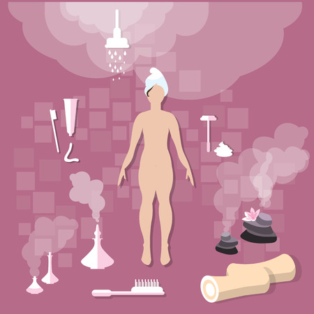 spa collage: Health and Beauty: beautiful woman, bathroom, hygiene, spa, body care, towel, toothpaste, vector illustration