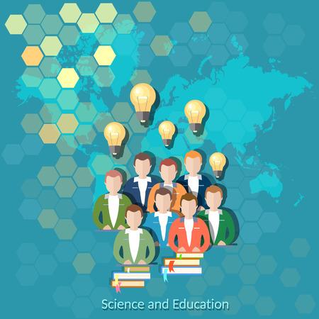 Wissenschaft und Bildung, Online-Bildung, internationale Ausbildung, Studenten, Bücher, Hochschule, Universität, Weltkarte, Vektor-Illustration