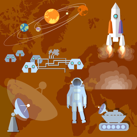 moon rover: Astronaut in space, study of Mars, planet, orbit, spacecraft, mars rover,spaceship. Vector Illustration