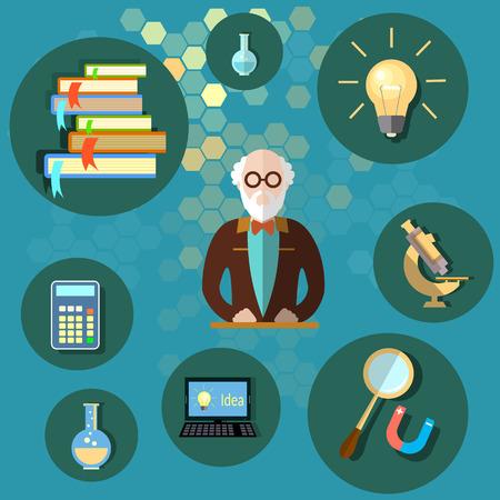 Education and science professor teacher university college school textbooks physics chemistry mathematics vector illustration