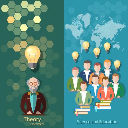 Ciencia y educación, educación en línea, estudiantes, estudio, universidad, profesor, clases, profesor, libros, banderas del vector