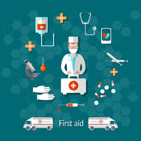 Medicine: ambulance, doctor, first aid kit, syringes, hospital, pill, vector illustration Ilustracja