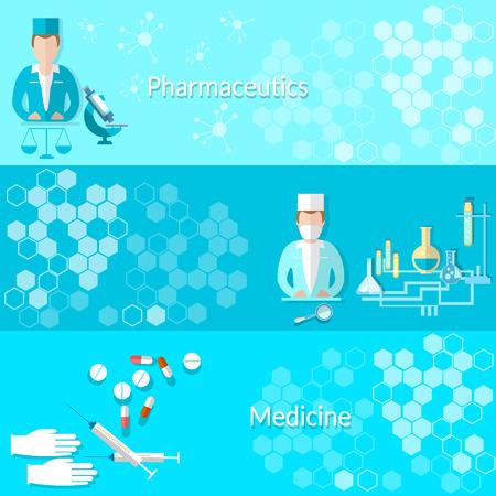 medicina: Medicina y farmacéuticos: píldoras, médicos, hospitales, medicamentos, laboratorio, jeringas, estudio, vector banners