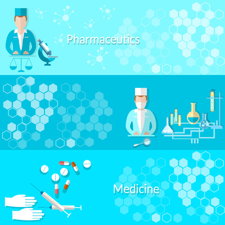 Medicine and pharmaceuticals: pills, doctors, hospitals, medicines, laboratory,syringes, study, vector banners