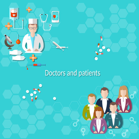 patients: Doctors and patients, medical education, hospital, examination, treatment, research, students, syringes, pills, vector illustration