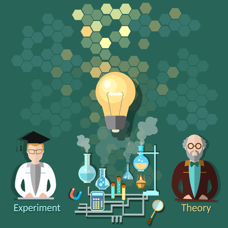 expertise: Science and education: scientific expertise, university, lesson, teaching, students, college, chemistry, physics, vector illustration