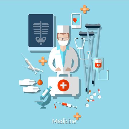 internist: Medicine: doctor, radiologist, x-rays, ambulance, hospital, vector illustration Illustration