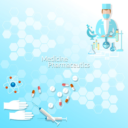 internist: Health and Medicine, doctor, pharmacy, research, syringes, medicines, pills, vector illustration
