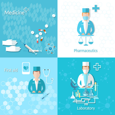 internist: Medicine, pharmacy, laboratory, first aid, research, cross, doctor,pharmaceutics, pills, drugs, vector illustration Illustration