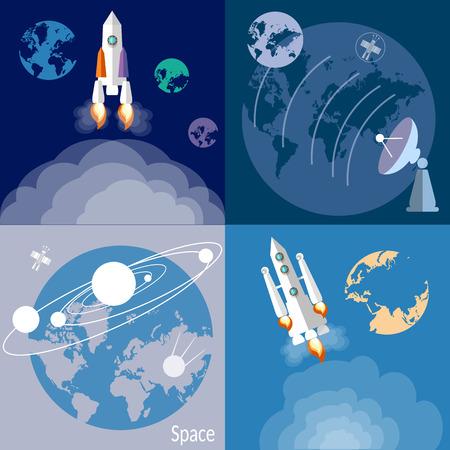 raumschiff: Raum und Raumfahrt, Raketen, Raumschiffe, Planeten, umkreisen, galaxie, universum, Flach Vektor-Illustration