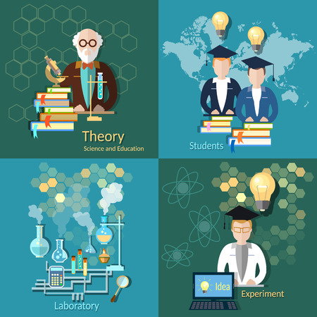 international students: Science and education, proffesor, international education, students, college, university, scientific, laboratory, experiment, vector icons