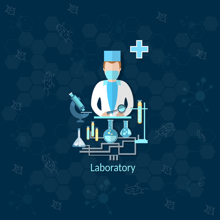 pharmacy technician: Medical research, laboratory, doctor, apothecary, pharmacist, medication, pill, microscope, vector illustration Illustration