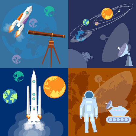 sputnik: Space program: astronaut, rocket, planet, sputnik, mars rover, exploration, flat vector illustration Illustration