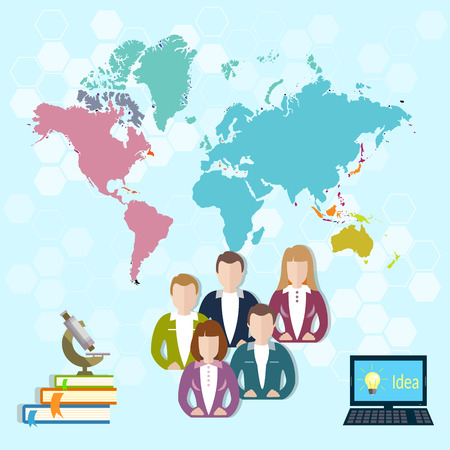 international students: International education online learning pupils students university college world vector illustration
