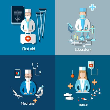 rheumatology: Medicine: doctors and patients, x-rays, crutches, nurse, ambulance, treatment, hospital,, laboratory, medication, pills, vector illustration