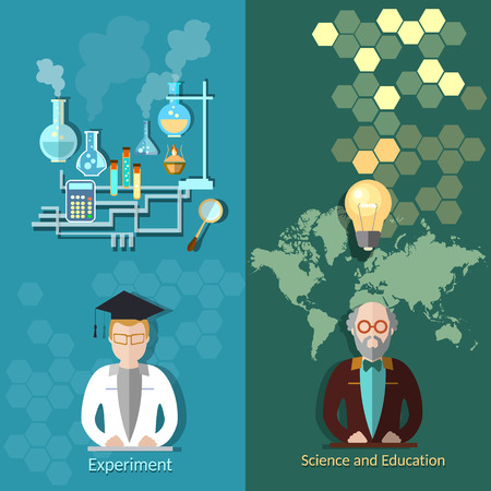 Education at the university lecturers, science, research, chemistry, physics, professor, experiment, vector banners