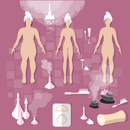 slimming: Hygiene body care women slimming spa aroma bath sauna shower aromatherapy vector illustration