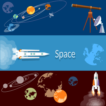 spaceport: Space concept: rockets, spaceships, technology, planets, orbits, flat vector banners