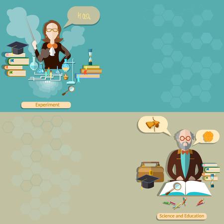 profesor: Ciencia y educación: profesor, estudiante, profesor, lecciones, escuela, universidad, biología, química, física, experimentación, estudio, banderas del vector