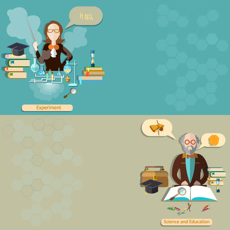 professor: Science and education: teacher, student, professor, lessons, school, university, college, biology, chemistry, physics, experiment, study, vector banners Illustration