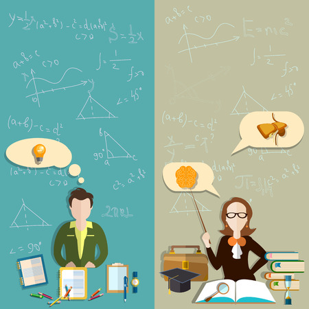 exam: Education: teacher, student teacher exam pupils, school, college, faculty, biology textbooks, experiments, training, vector banners Illustration