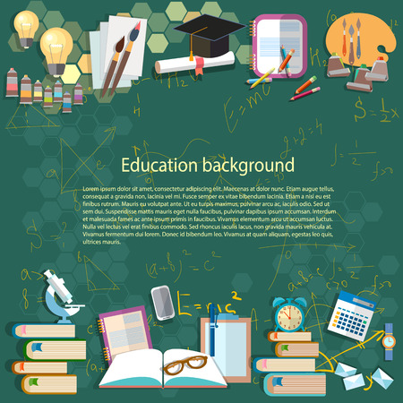 Education background: math formula algebra geometry thinking learning back to school university college idea light bulb student objects vector illustration
